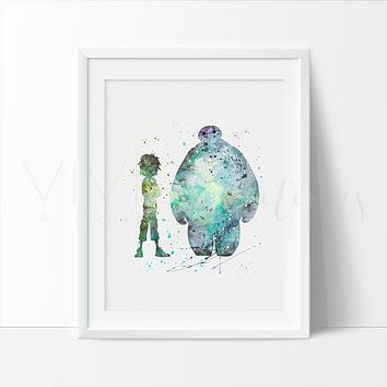 Hiro Hamada and Baymax 2 Watercolor Art Print