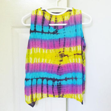 Cute tank Tie dye tank top red blue yellow size M,L chest 38 inch women sleeveless shirt /Crop shirt/ cute shirt/ Handmade unique shirt