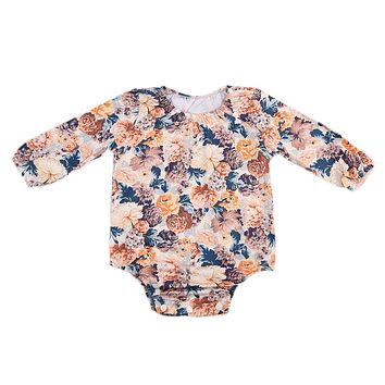 Newborn Baby Boy Girl Long Sleeve Floral Cotton Romper Jumpsuit Clothes Outfit Baby Clothing