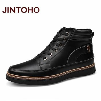 JINTOHO Big Size Fashion Horse Riding Boots Genuine Leather Men Shoes Black Ankle Booties Cowboy Boot Fashion Casual Men Boots