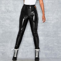 Autumn fashion new solid color slim high waist bright leather slim skinny pants