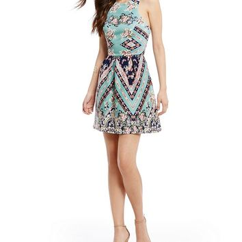 Teeze Me Floral and Chevron Mixed Print Fit-and-Flare Dress | Dillards