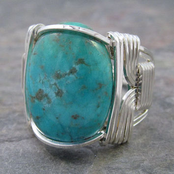 Turquoise Cabochon Sterling Silver Wire Wrapped Ring ANY size