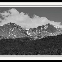 Longs Peak Diamond Monochrome Framed Print