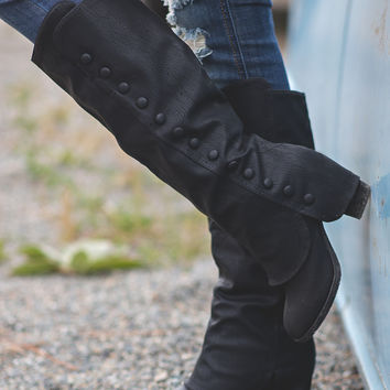 Pushing My Buttons Fold Over Button Up Boots (Black)