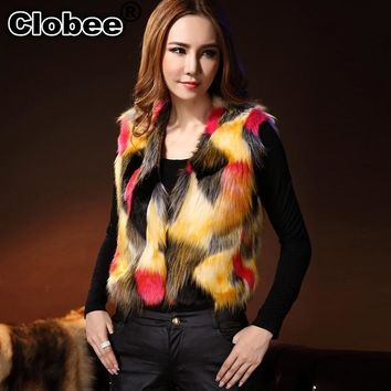 Plus Size 2018 6XL Women Faux Fur Vest Patchwork Gradual Color 2018 Fall  Sleeveless Fur Vest Female Jacket Coat V022