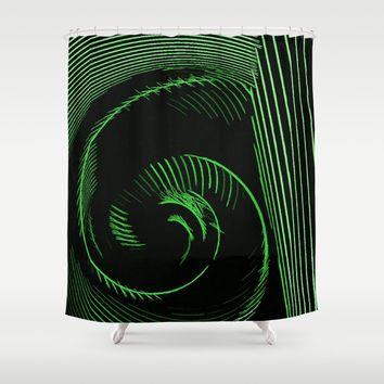 Green portal - abstract geometric lines artwork, surreal tunnel, curves, circles, pattern Shower Curtain by Casemiro Arts - Peter Reiss