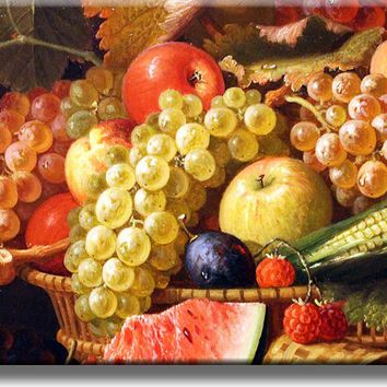 Grapes and Apples Fruit Basket Kitchen Picture on Acrylic , Wall Art Décor, Ready to Hang