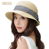 SIGGI Women straw sun hat   summer bowknot packable foldable uv upf50 fashion beach girl 89316