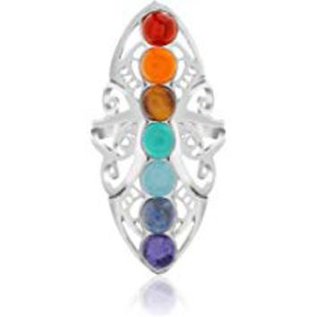 Simulated Turquoise/Rainbow Colored Stone Chakra Healing Style Ring for Women (Multiple Sizes)