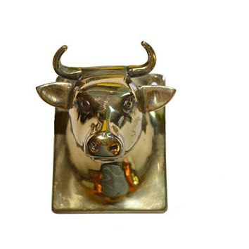 Vintage Brass Steer Towel Hook Steer Wall Hook Brass Cow Towel Hook Cow Wall Hook Cow Apron Hanger Farmhouse Decor Bull Towel Hook