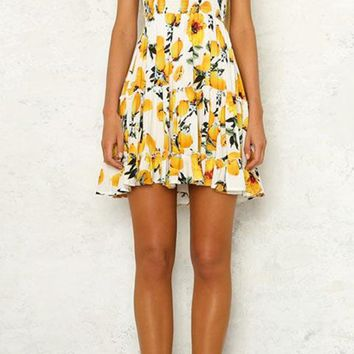 Wildflower Wishes White Lemon Floral Pattern Strapless Smocked Ruffle Empire Waist Casual Mini Dress
