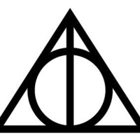Deathly Hallows- Harry Potter- Decal / Sticker - Size: 4.5 x 3.5 inches - Color: Black