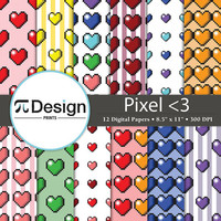 "Geeky Valentine Pixel Heart Pattern 8.5""x11"" Digital Paper Pack of 12 
