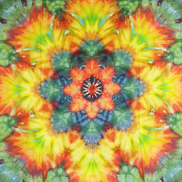 """tie dye wall hanging tapestry yellow green red peach 44.5"""""""
