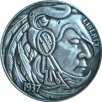 Hobo Nickel 1937-D 3-LEGGED BUFFALO NICKEL COIN COPY FREE SHIPPING Type 40