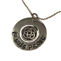 Outlander Inspired Necklace - Pewter Hand Stamped with Je Suis Prest and Celtic Knot on 18 Inch Chain