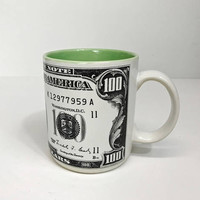 Vintage Chadwick Miller 100 Dollar Bill Mug 1992 Collectible Mug Black and White Green Interior Coffee Mug Tea Cup 90s Dollars Money Gift