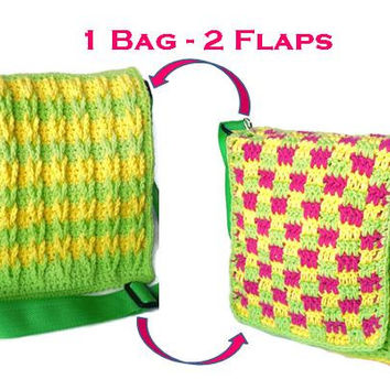 Crocheted Shoulderbag with two interchangeable flaps, washable, shoulder strap length adjustable