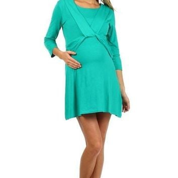 Clearance - Angel Knot Tunic Style Long Sleeve Nursing Dress - NO RETURNS