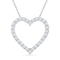 1/4 CT. T.W. Diamond Lined Heart Pendant in 10K White Gold