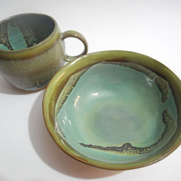 Ceramic Bowl, Breakfast Bowl, Small Pottery Dish, Handmade in Olive Green and Turquoise