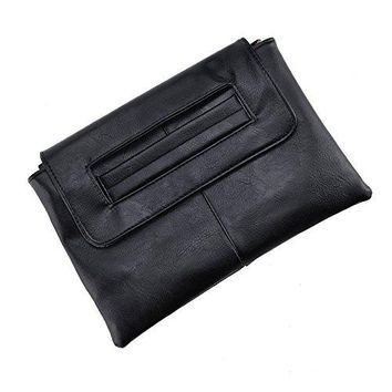 Women Leather Evening Wristlet Handbag Clutch Bag Purse  Envelope Bags Adjustable