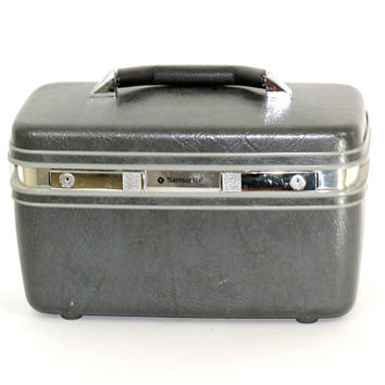 Vintage Train Case Samsonite Profile II | Gray Toiletries Case | Small Travel Bag | Vintage Luggage Hard Side