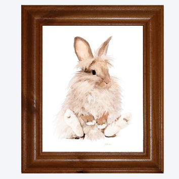 Nursery Art, 8x10 Fluffy Rabbit Print, Bockingford Watercolour Paper, Rabbit Art, Free Shipping