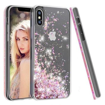 ONETOW iPhone X Case,Soundmounds iPhone X,iPhone 10 Glitter Flowing Liquid Floating Fashion Bling Case Cover for iPhone X (Diamond Powder)