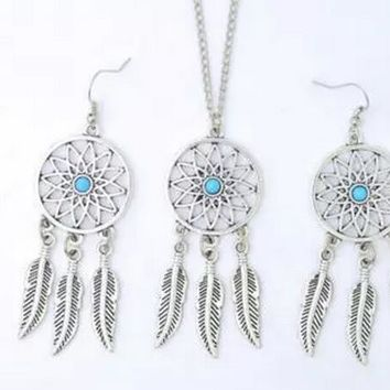 Vintage Silver Dream Catcher Feather crystal Skull Hope Braclets Necklace Earrings Jewelry Sets For Women  Accessories  S150