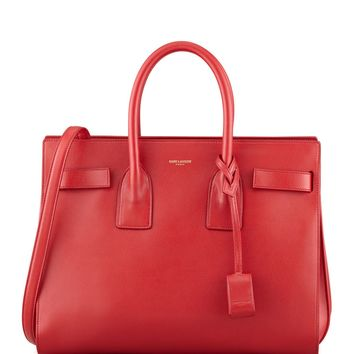 100%AUTH NEW WOMEN YVES SAINT LAURENT SAC DE JOUR RED SHOULDER SATCHEL BAG