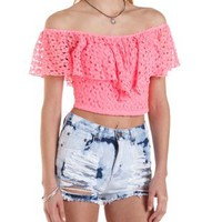 Crocheted Flutter Crop Top by Charlotte Russe