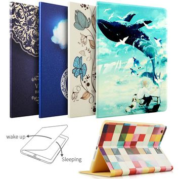 Case For iPad Air Air2 For New iPad 9.7 inch 2017, ZVRUA Painting Series with Auto Wake Up/Sleep Function Stand Smart Cover