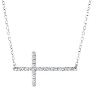 Sideways Cross With Cz Necklace In Rhodium Plated Sterling Silver - 18 Inches