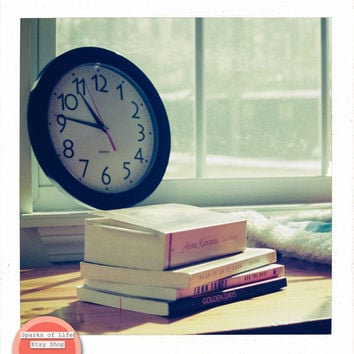 Square digital download still life printable, stack of books in window seat, winter, clock, vintage fine art photography wall art home decor