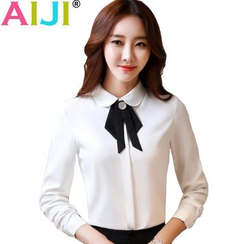 Autumn women clothing long sleeve shirts OL elegant bow tie turn-down collar Formal chiffon blouse office ladies work wear tops