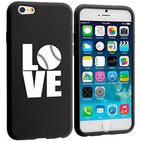 Apple iPhone 6 6s Silicone Soft Rubber Skin Case Cover Love Baseball Softball (Black)