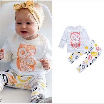 Baby girl clothes Long sleeve T-shirt owl+pant 2 PCs outfit suit summer children clothing animal kids boy clothes set cotton