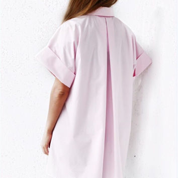 Trendy Loose Rear Features crimping Big Mouth Sleeve Shirt