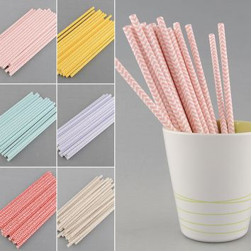 25Pcs Chevron Striped Drink Paper Straws Bachelorette Party Supplies Happy Birthday Party Decorations Kids Drinkwrae