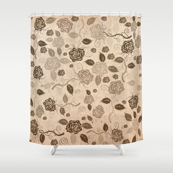 Brown flowers Shower Curtain by Tony Vazquez
