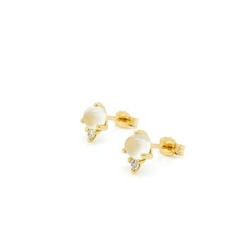 White Moonstone & Diamond Modern Minimalist Stud Earrings 14k Yellow Gold