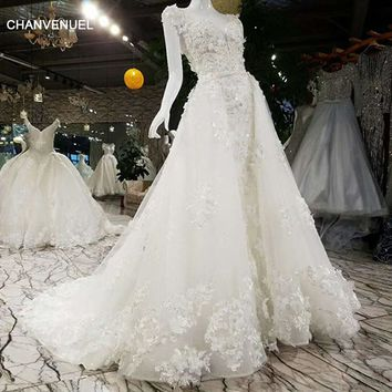 LSS005 Luxury wedding dress with detachable train lace beading A line lace up lace bridal wedding gowns with removable train