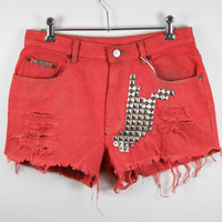 Calvin Klein High Waisted Dyed Red Pyramid by shopbigbadwolf