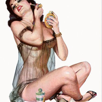 Pin Up Art Brunette With See Through Poster