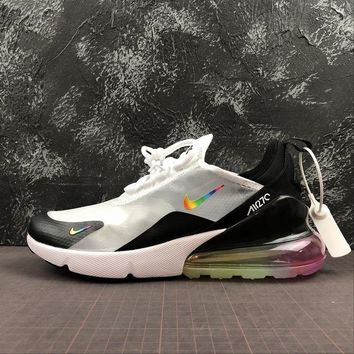 Nike Air Max 270 White Black With Colourful Logo - Best Online Sale