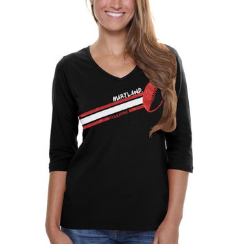 Maryland Terrapins Ladies Football Glitter Half Sleeve V-Neck T-Shirt - Black
