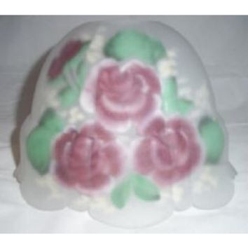 35013 - Hand Painted Rose Design Glass Lamp Shade,  Fits Onto Glass Chimney.