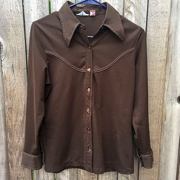 Vintage Womens Brown Long Sleeve Shirt Western Shirt Button Down Polyester 1960s  Brown Shirt With Stitching Rockabilly Shirt For Women